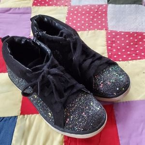 Girl's Justice sz 13 booties black with glitter